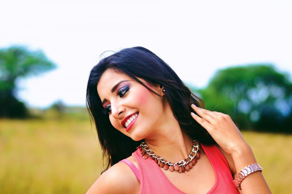 Brunette woman smiling