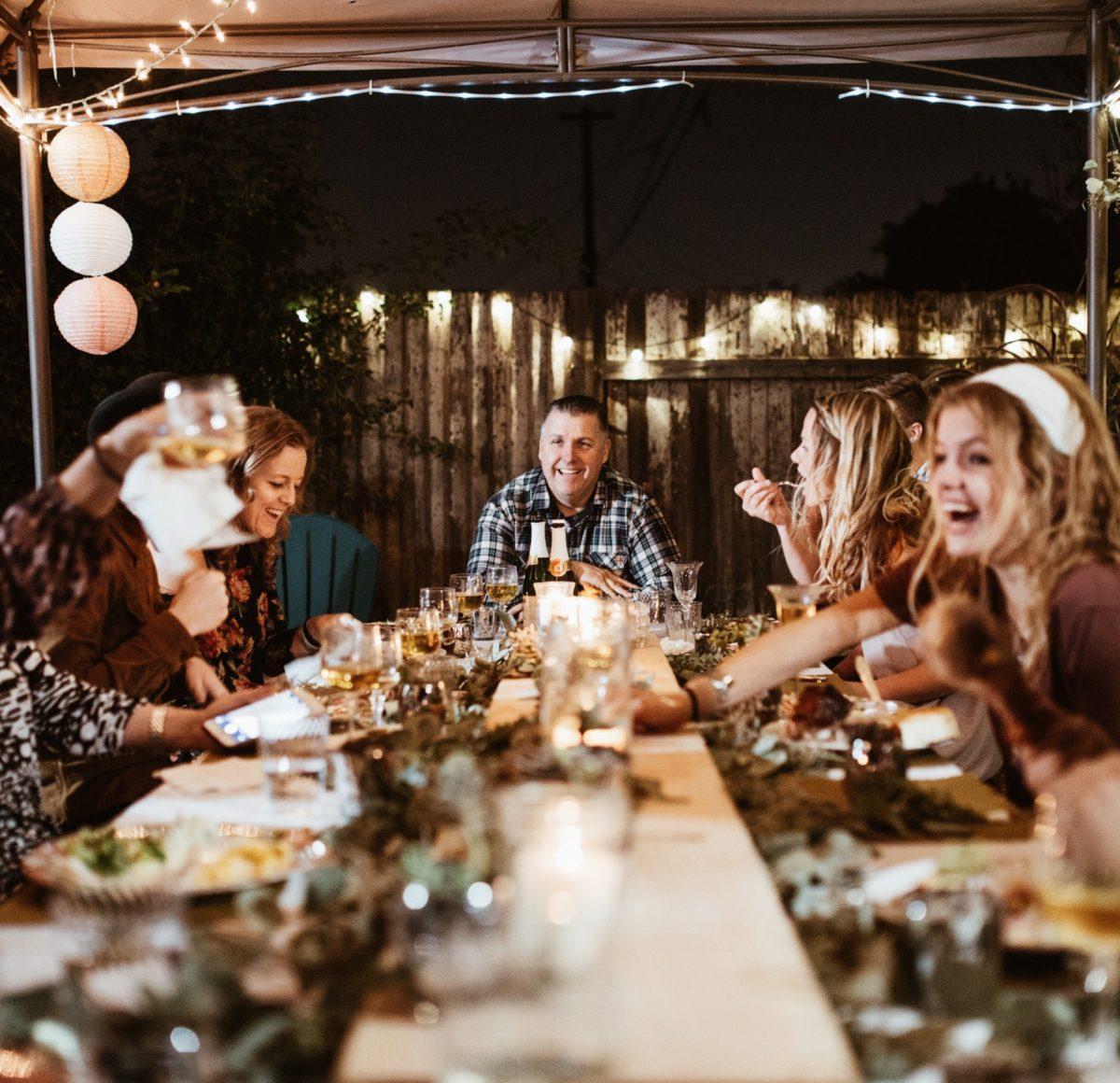 Joyful eating - family enjoying holiday meal together