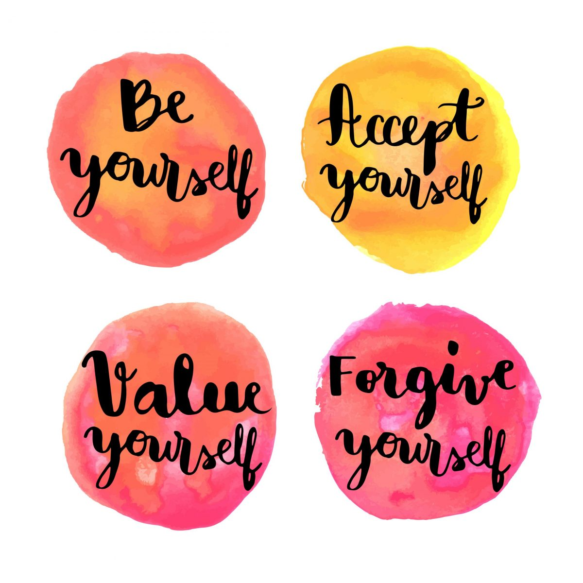 self care - be yourself, accept yourself, value yourself, forgive yourself