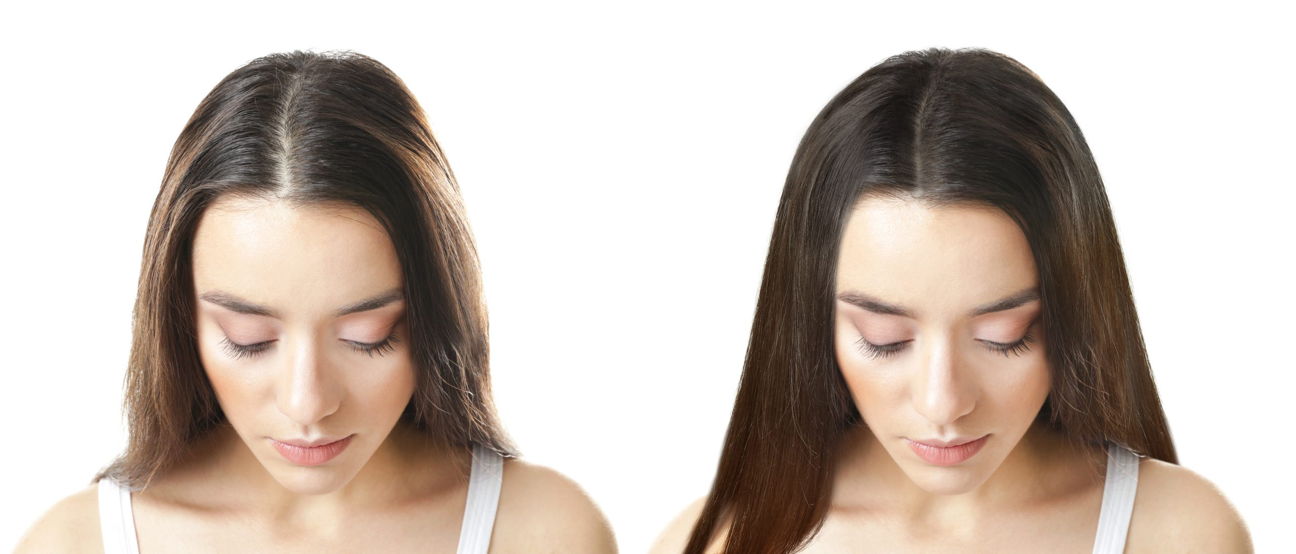 woman before after hair serum