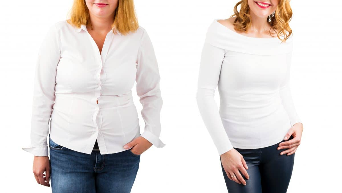 woman white blouse weight loss before and after